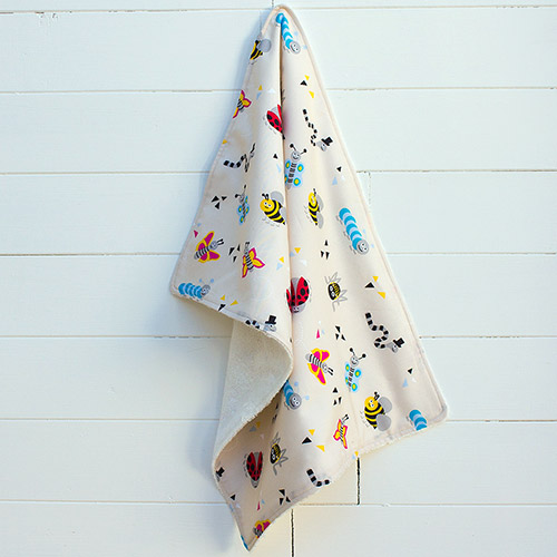 A picture of on of our, supersoft bamboo and cotton burp cloth (bugs pattern)