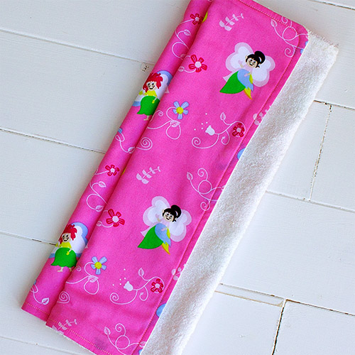 A picture of on of our, supersoft bamboo and cotton burp cloth (pink fairies pattern)