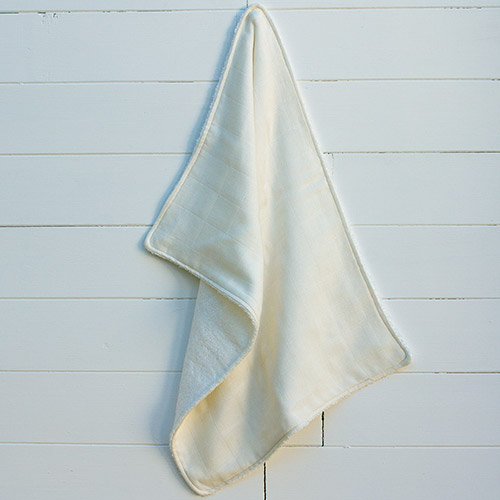 A picture of our Our pure and simple, supersoft bamboo and cotton burp cloth