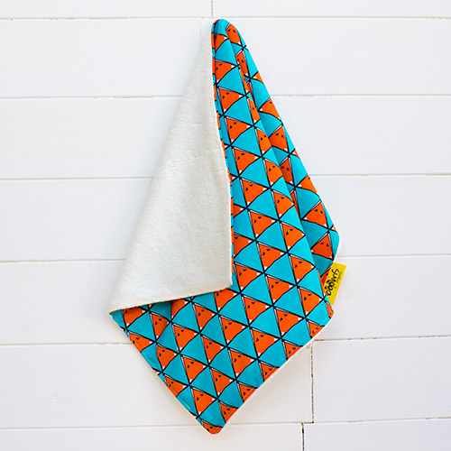 A picture of one of our, supersoft bamboo and cotton burp cloth (foxes pattern)